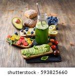 healthy breakfast with vegan... | Shutterstock . vector #593825660