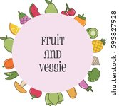 fruit and vegetable poster  | Shutterstock .eps vector #593827928