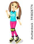 cute little girl with skates | Shutterstock .eps vector #593828774