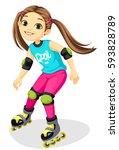 cartoon cute little girl skating | Shutterstock .eps vector #593828789
