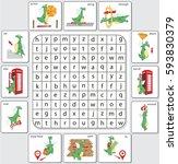cartoon dragon prepositions of... | Shutterstock .eps vector #593830379