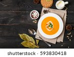 pumpkin and carrot soup with... | Shutterstock . vector #593830418