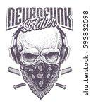 neurofunk soldier. skull in... | Shutterstock .eps vector #593832098