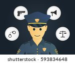 police and four icons. vector... | Shutterstock .eps vector #593834648