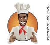 african men smiling chef. black ... | Shutterstock .eps vector #593839268