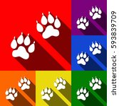 animal tracks sign. vector. set ... | Shutterstock .eps vector #593839709