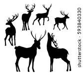 deer silhouette   vector... | Shutterstock .eps vector #593840330