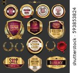 golden badges and labels with... | Shutterstock .eps vector #593853824