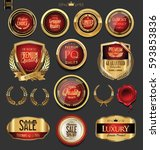 golden badges and labels with... | Shutterstock .eps vector #593853836