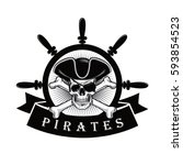 pirate skull with eyepatch and... | Shutterstock .eps vector #593854523