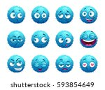 funny blue round characters set.... | Shutterstock .eps vector #593854649