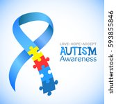 Stock vector world autism awareness day blue ribbon with colorful puzzles vector background symbol of autism 593855846