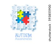 world autism awareness day.... | Shutterstock .eps vector #593855900