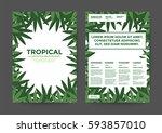 leaf illustration background... | Shutterstock .eps vector #593857010