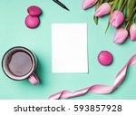 coffee  tulips and other... | Shutterstock . vector #593857928