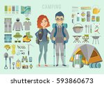 camping infographic. young... | Shutterstock .eps vector #593860673