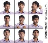 indian man 9 facial expressions ... | Shutterstock . vector #593862374