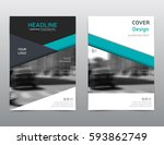 blue annual report cover.... | Shutterstock .eps vector #593862749