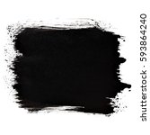 short black thick brush stroke... | Shutterstock . vector #593864240