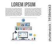 modern workspace with desktop... | Shutterstock .eps vector #593864663