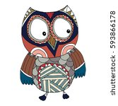 owl vector  doodle  freehand... | Shutterstock .eps vector #593866178