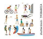 vector set of characters ... | Shutterstock .eps vector #593868014