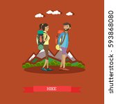 vector illustration of hikers... | Shutterstock .eps vector #593868080