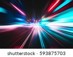lighting speed effect background | Shutterstock . vector #593875703