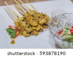 satay   chicken satay and with... | Shutterstock . vector #593878190