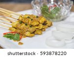 satay   chicken satay and with... | Shutterstock . vector #593878220