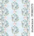 vintage feedsack pattern in... | Shutterstock . vector #593882573
