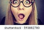 closeup of weirdo woman face... | Shutterstock . vector #593882780