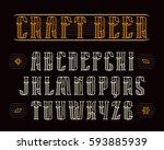 decorative serif font in retro... | Shutterstock .eps vector #593885939