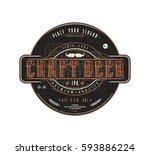 craft beer label template in... | Shutterstock .eps vector #593886224