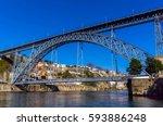dom luis bridge in porto ... | Shutterstock . vector #593886248