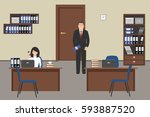 office room in a beige color.... | Shutterstock .eps vector #593887520