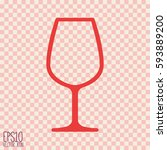 wine glass icon. flat style for ... | Shutterstock .eps vector #593889200
