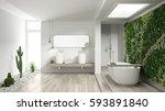 minimalist white bathroom with...   Shutterstock . vector #593891840