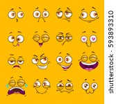 funny cartoon comic faces on... | Shutterstock .eps vector #593893310