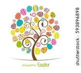 easter tree. colorful tree with ... | Shutterstock .eps vector #593896898