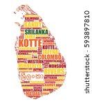 sri lanka map silhouette vector ...   Shutterstock .eps vector #593897810