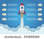 infographic template of rocket... | Shutterstock .eps vector #593898584
