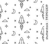 space rocket scandinavian line... | Shutterstock .eps vector #593901839