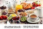 breakfast served with coffee ... | Shutterstock . vector #593903900