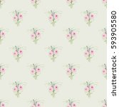 seamless floral background with ... | Shutterstock .eps vector #593905580