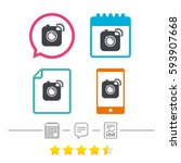 hipster photo camera sign icon. ... | Shutterstock .eps vector #593907668