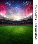 stadium sunset  with people... | Shutterstock . vector #593907719