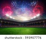 stadium sunset  with people... | Shutterstock . vector #593907776