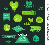 set of eco signs | Shutterstock .eps vector #593907920