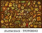 colorful vector hand drawn... | Shutterstock .eps vector #593908043